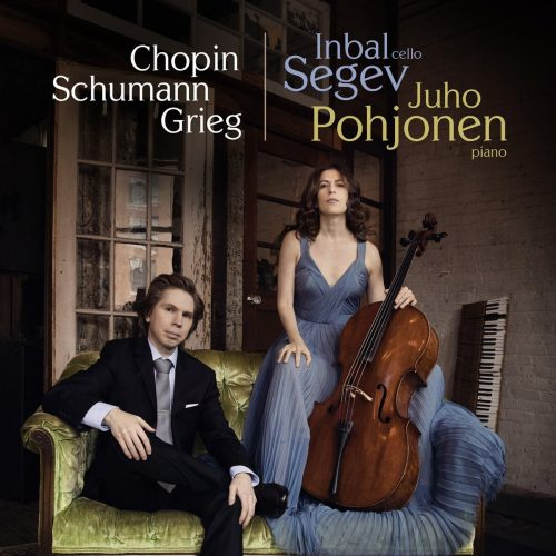 "The album cover to Inbal Segev and Juho Pohjonen's album titled ""Chopin, Schumann, Grieg"""