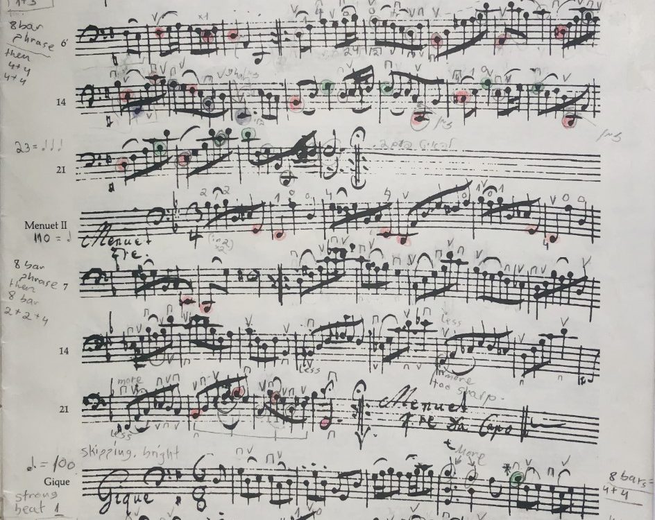 A manuscript of Bach's Cello Suite no. 1 in G major.